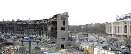 BRONX, NEW YORK - APRIL 10: Panoramic showing both old Yankee Stadium as it is torn down and the new stadium.  Taken April 10, 2010 in the Bronx, New York.