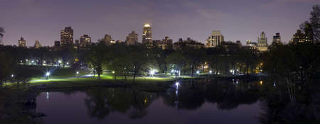 Panoramic photo of Central Park in New York City.  Photographed on summer evening in 2008. USA. Stock Photo - 9302465