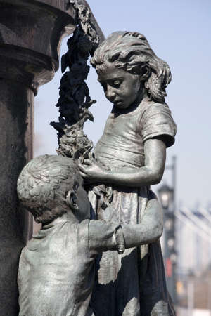 Close up shows sculpted children as part of the Henry Beecher memorial. Henry Ward Beecher (June 24, 1813 � March 8, 1887) was a prominent, Congregationalist clergyman, social reformer, abolitionist, and speaker in the mid to late 19th century.Statue is