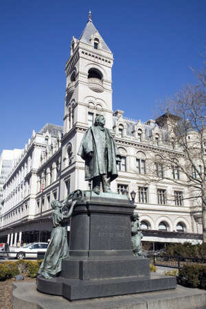 Memorial Statue of Henry Beecher.  Building in rear is the Bankruptcy Court.  Henry Ward Beecher (June 24, 1813 � March 8, 1887) was a prominent, Congregationalist clergyman, social reformer, abolitionist, and speaker in the mid to late 19th century.Sta