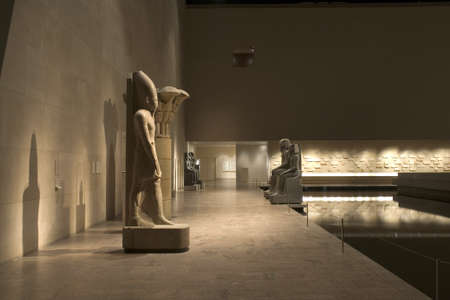 exhibit: Inside the Metropolitan Museum of Art in New York City.  Image shows  part of the Egyptian exhibit in the Sackler Wing.  Photographed April, 2009 in the USA.