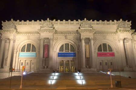 The Metropolitan Museum of Art in New York City photographed at night in April of 2009, USA.