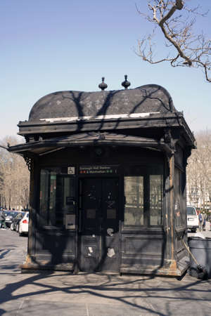 One of the subway entrances of the Metropolitan Transit Authority of New York City in the same style as those used during the early 1900s.  Photographed March, 2009 in the USA