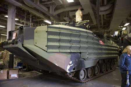 amphibious: New York, New York - May 23: The Amphibious Assault Vehicle (AAV)—official designation AAV-7A1 (formerly known as LVT-7) is a fully tracked amphibious landing vehicle.Taken during Fleet week May 23, 2009 in New York City. Editorial