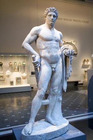 NEW YORK, NY - APRIL 10: Statue of Hercules, greek myth hero located inside the Metropolitan Museum.  Taken April 10, 2009 in New York City