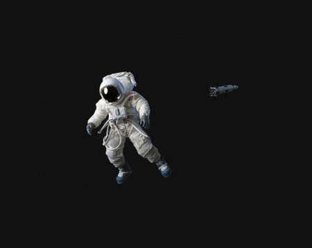An astronaut in black space.  He is American. Stock Photo