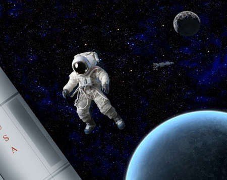 rocket man: An astronaut in space.  He is American. Stock Photo
