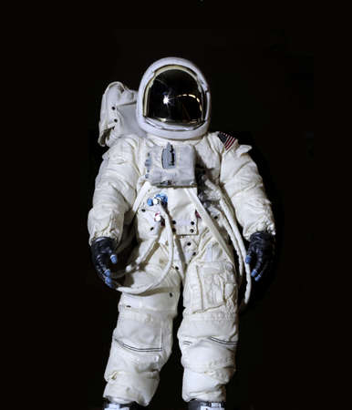 spacesuit: American Astronaut wearing  pressure suit.