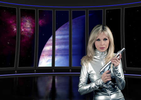 catsuit: Fantasy illustration of interior science fiction ship with lady. Stock Photo