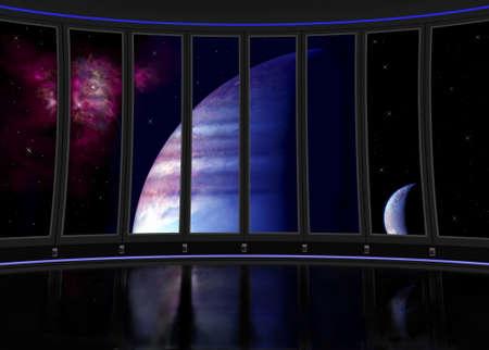 인테리어 과학 소설 우주선의 판타지 그림입니다.