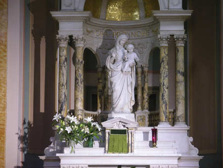 NEW YORK, NY - May 15:   Statue of Madonna with child.       Taken inside Saint Jean Baptiste Catholic Church May 15, 2006 in New York City.