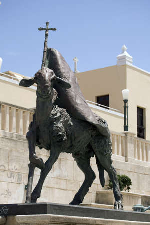 Lamb of God statue located in the Plaza del Quinto Centenario, Old San Juan, San Juan, PR