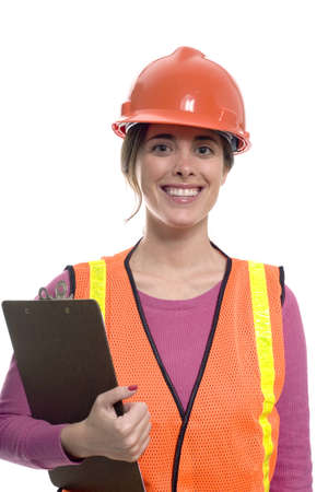 hard: woman wearing a construction outfit against a white background.