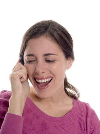 cel: Una donna parla caucasica sul suo telefono cel.