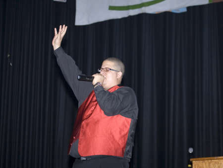 bronx county: Bronx, NY - April 9: Pentecostal Christian singer Hector Delgado sings during event held at Lehman High School. Taken April 9th, 2011 in the County of the Bronx, NY.
