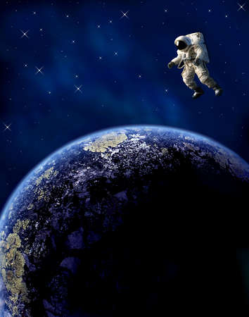 An astronaut floats in space over a planet.