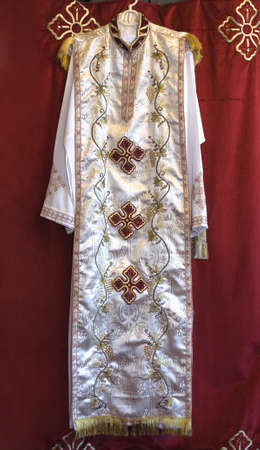coptic orthodox: A priestly garment or robe worn by one of the church fathers during service at the Coptic Orthodox Church of St George in Brooklyn NY.  Photographed  September 2009 in the USA.   Editorial