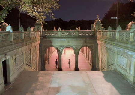 Entrance to Bethesda Terrace Arcade inside Central Park in New York City.  Photo taken on an October evening, 2008 in the USA.  Arcade has been restored and leads to the fountain, not shown which is known as the heart of Central Park.