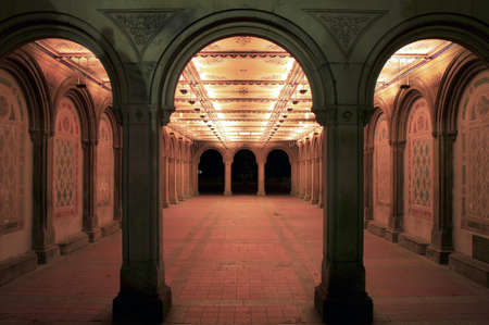 Entrance to Bethesda Terrace Arcade inside Central Park in New York City.   Editorial