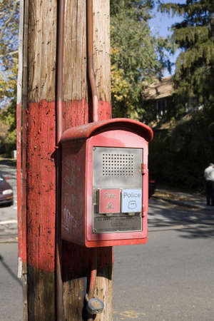emergency call: A police and fire box used for the public to call in case of fire or police emergency.