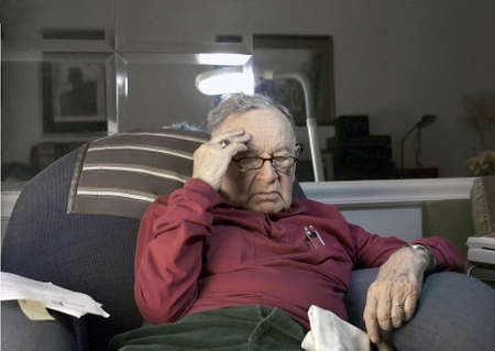 jewish home: Senior under stress .  He is Romanian born and of the Jewish Faith.  He is 85 years old.