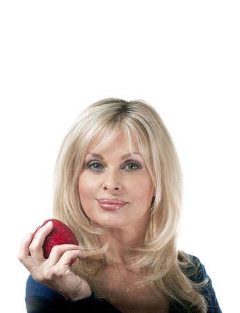 woman holding apple.    Stock Photo