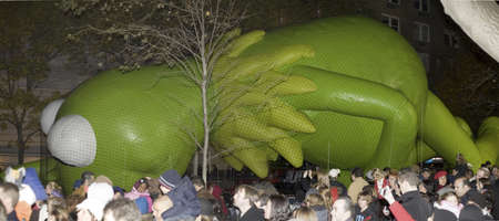 NEW YORK, NEW YORK - NOVEMBER 24:  Kermit the frog balloon gets inflated the night before the Macys Thanksgiving parade.  Taken November 24, 2010 in New York City.