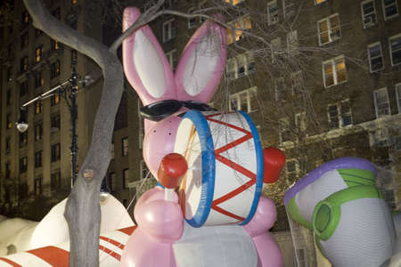 NEW YORK, NEW YORK - NOVEMBER 24: Energizer bunny balloon gets inflated the night before the Macy Editorial