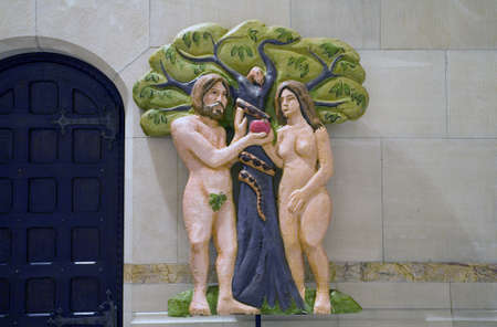 Adam and Eve figures used during Christmas service at The Cathedral of St. John the Divine.  Amsterdam Avenue New York, NY