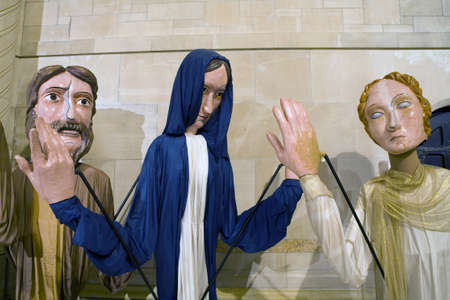 reenact: Three puppets used during Christmas to re-enact the Nativity are housed inside the Cathedral of St. John the Divine. New York, NY 10024