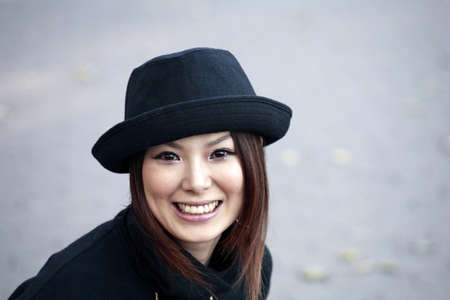 japanese ethnicity: Fashion model poses in Central Park New York.  She was 23 at the time of shoot and of Japanese ethnicity.  Photographed November, 2007.