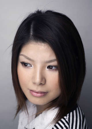 japanese ethnicity: Asian woman photographed in my studio.  She was in her early twenties at the time and is of Japanese ethnicity.  Stock Photo