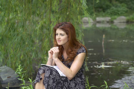 Girl sits in Central Park with a look of despair.  She was in her twenties at the time of shoot and is Jewish american.  she has signed a release.  Photographed June, 2007 in the USA.           Stock Photo - 10328803