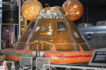 f 15: CHANTILLY, VIRGINIA - AUGUST 15: Apollo 11 Comand Module located inside the the National Air and Space Museums Steven F. Udvar-Hazy Center.   Photographed August 15, 2007 in Chantilly, Virginia. Editorial