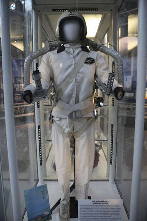 housed: CHANTILLY, VIRGINIA - AUGUST 15: Bell Rocket Belt No.2 and suit housed inside the National Air and Space Museum