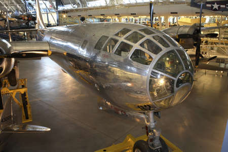 atomic center: CHANTILLY, VIRGINIA - AUGUST 15: Boeing B-29 Superfortress Enola Gay, responsible for dropping atomic bomb on Japan in WWII. Photographed  inside the National Air and Space Museum Editorial