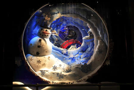window display: A Christmas display at a Department store window.   Editorial