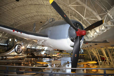 CHANTILLY, VIRGINIA - AUGUST 15: Grumman F6F3 Hellcat aircraft.  Photographed  inside the National Air and Space Museum