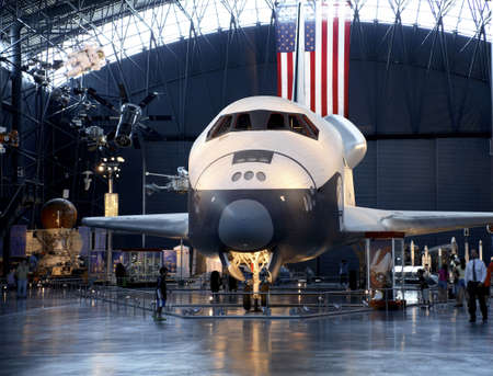 chantilly: CHANTILLY, VIRGINIA - AUGUST 15: Space Shuttle Enterprise at the National Air and Space Museum Editorial