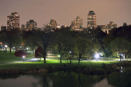 Photo  of Central Park in NYC taken at night.