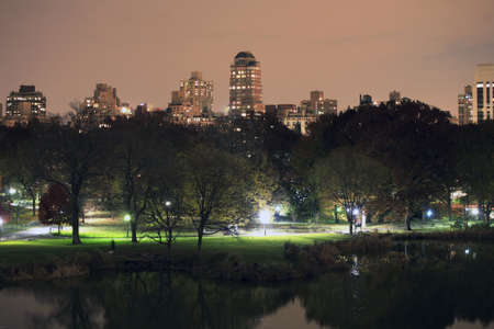 Central Park at night in New York City.