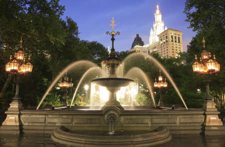 granite park: Mould Fountain  in New York City Hall Park in lower Manhattan. granite basin with semicircular pools on both sides and a central cascade.