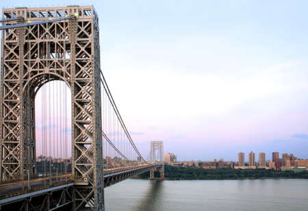 Manhattan and the George Washington Bridge as viewed from Fort Lee, NJ.  River shown is the Hudson River.