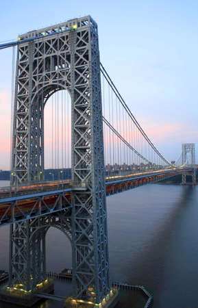 George Washington Bridge connecting New York and New Jersey as viewed from Fort Lee, New Jersey.   Stock Photo