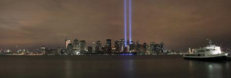 HOBOKEN, NEW JERSEY - SEPTEMBER 11: View of Ground Zero.  Image taken September 11, 2008 in Hoboken, New Jersey.