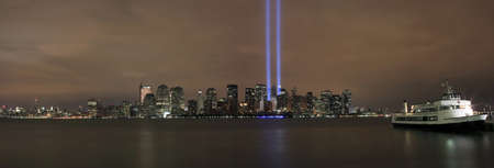 HOBOKEN, NEW JERSEY - SEPTEMBER 11: View of Ground Zero.  Image taken September 11, 2008 in Hoboken, New Jersey.
