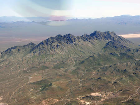 Aerial view of mountains between Nevada and Arizona.