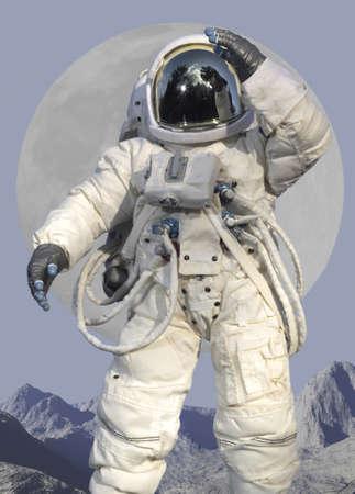 astronauta: Astronauta saludando mientras que en un planeta.