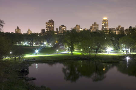 Central Park at night in New York City.   Stock Photo