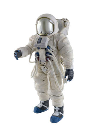 Astronaut wearing spacesuit against a white background.